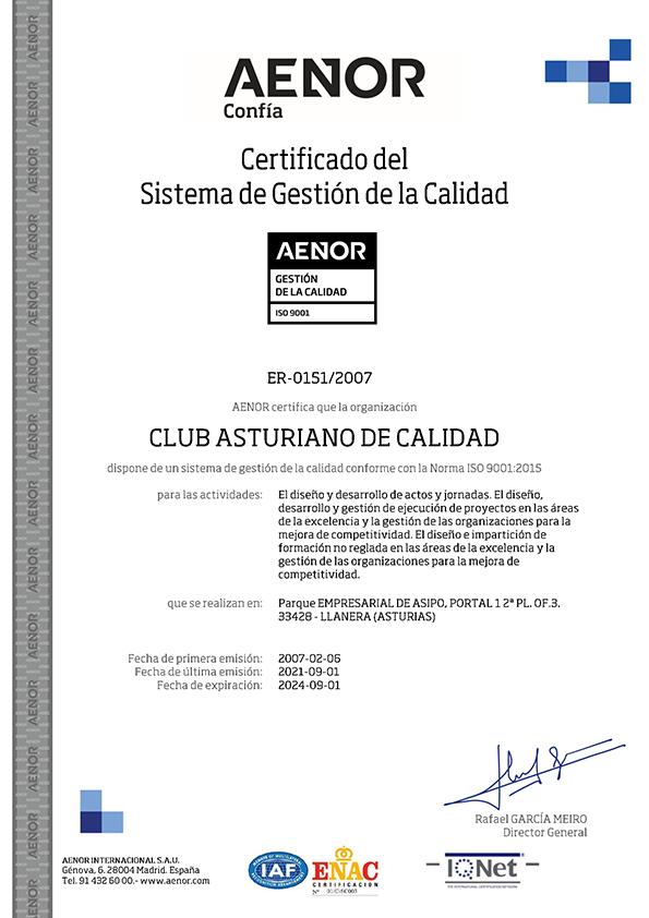 Certificado del Sistema de Gestión de la Calidad   2021 Club de CAlidad
