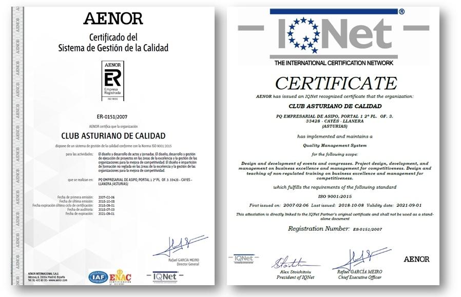 Certificados del Club de Calidad