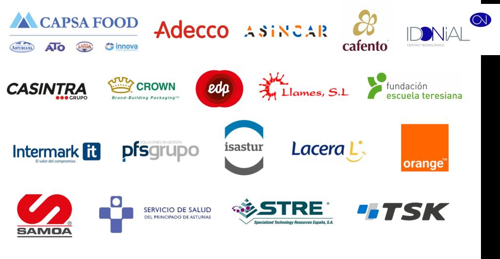 Miembros de la Red de Empresas Saludables de Asturias 2019